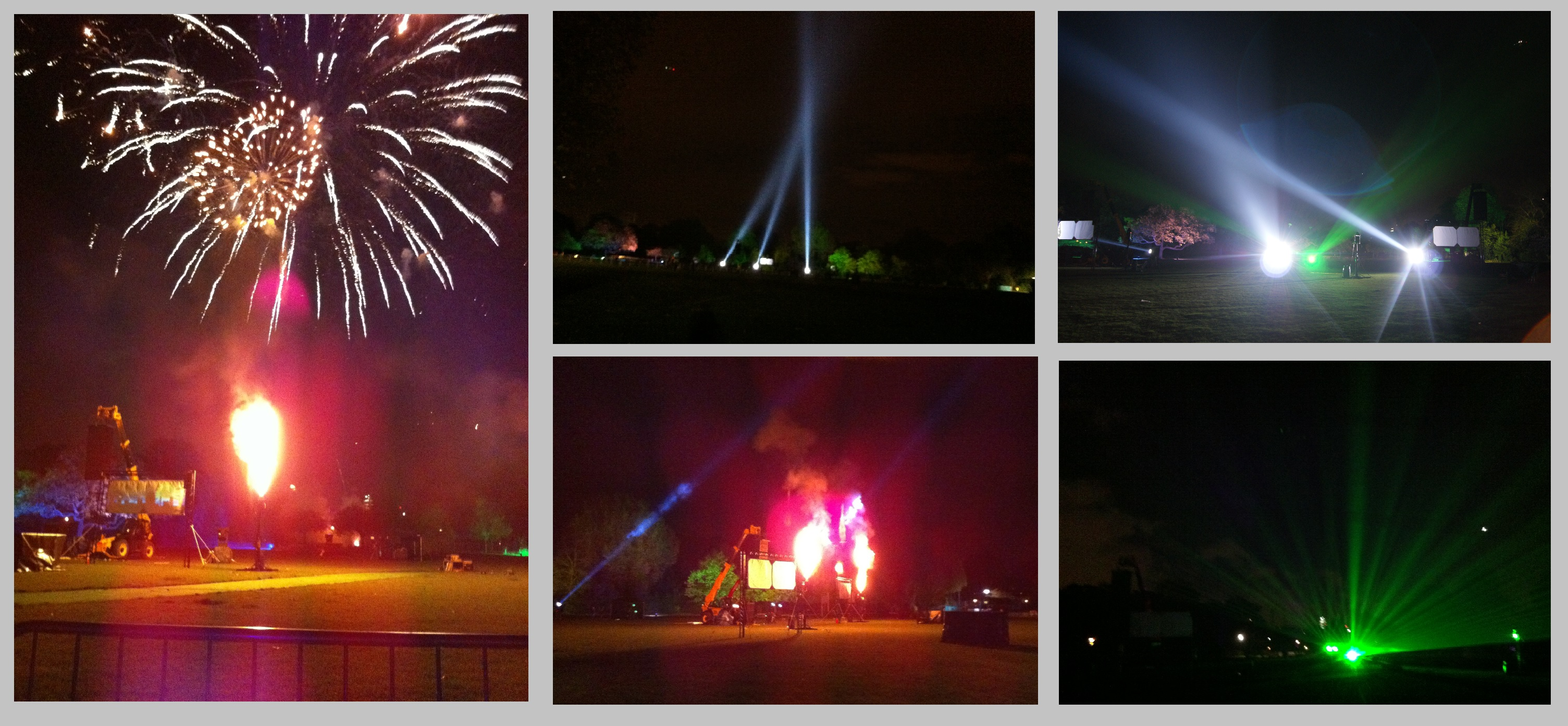 flame effects and searchlights for events