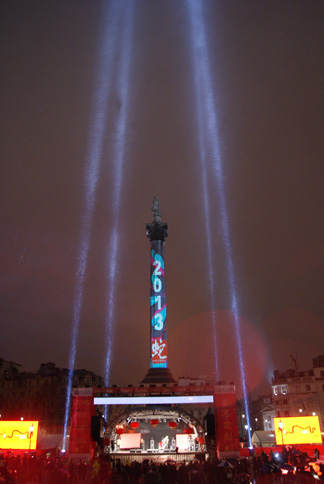 Projection and searchlights on Nelson's Column for Chinese New Year