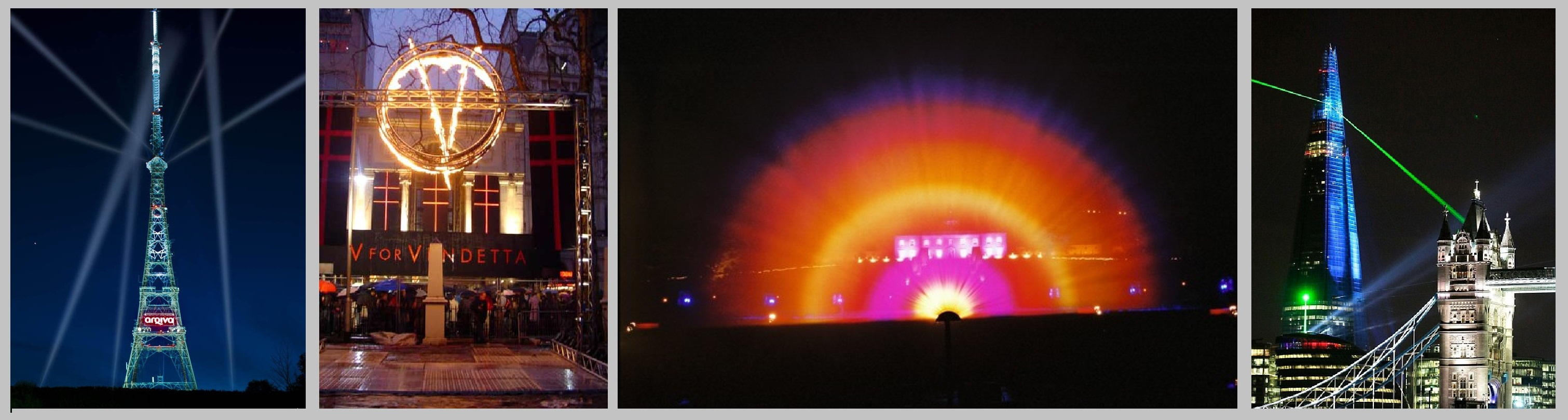 EMF Searchlights, flame effects, waterscreen