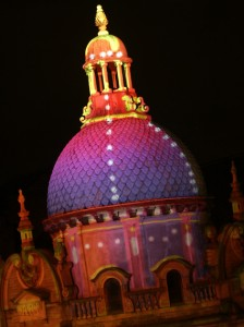 Building projection onto Blackpool's Grand Theatre