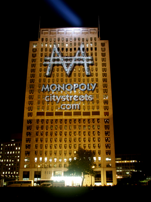 Massive outdoor projection onto The Shell building for Monopoly launch.