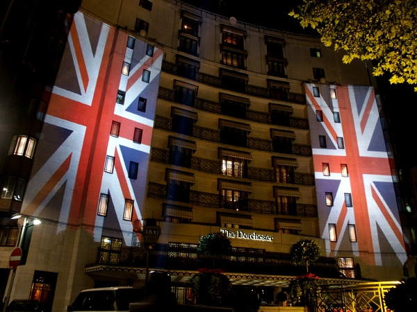 Fashion for the Brave Building Projection onto The Dorchester Hotel
