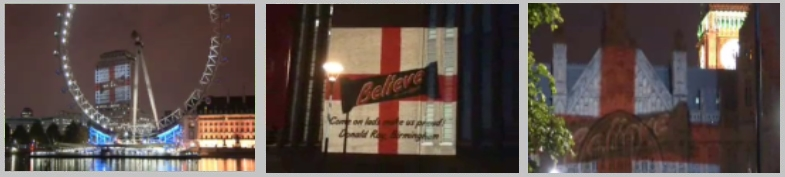 Mars mobile projection campaign around London featured in the SUN newspaper