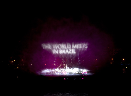 Water screen projection on The Thames