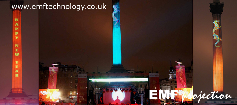 Chinese New Year Projections onto Nelson's column