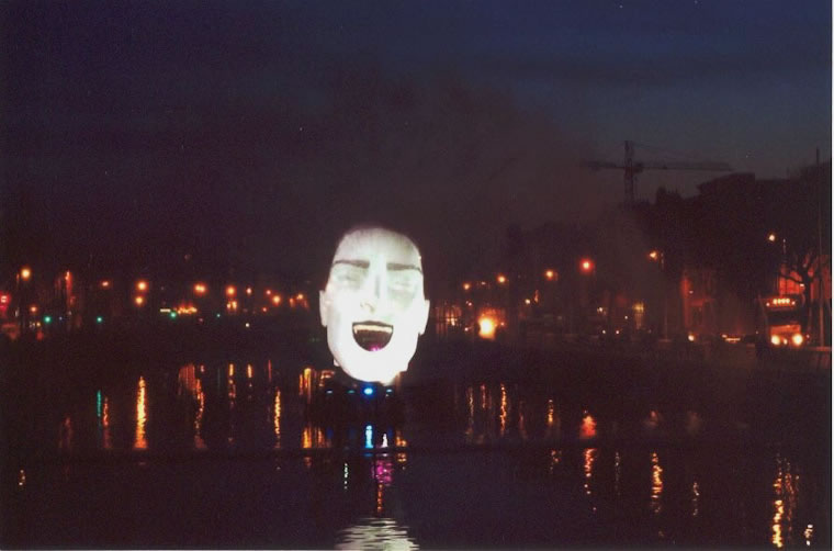 Dublin waterscreen event on the River Liffey. Ireland