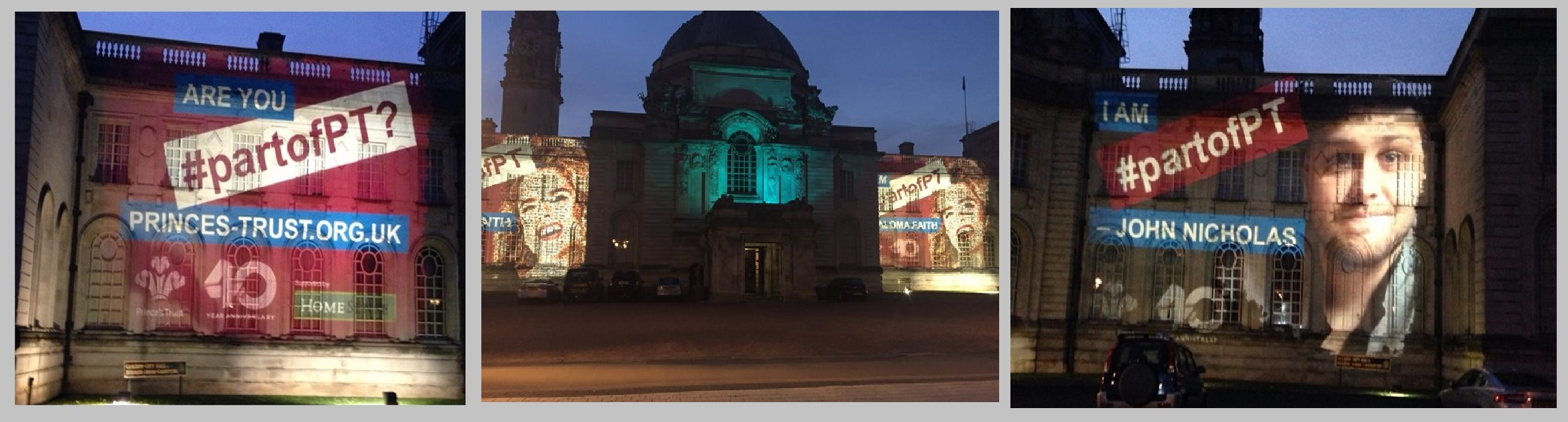 Prince's Trust projections Cardiff City Hall