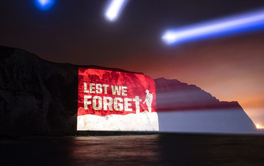 Veterans Foundation Projection onto White Cliff of Projection