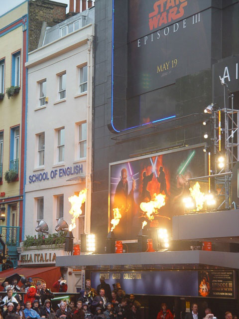 Firestorm stage flame effect Leicester Square Premiere London