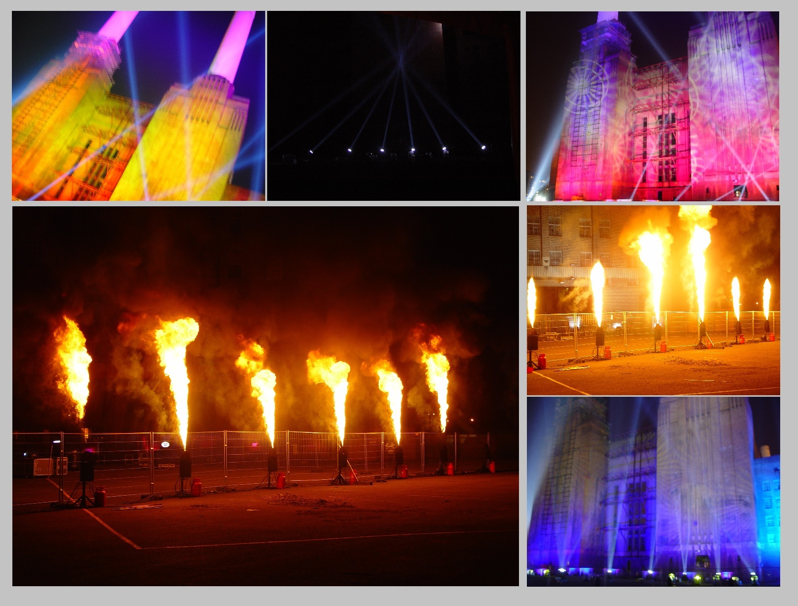 Flames, Searchlights, Lighting at Battersea Power Station
