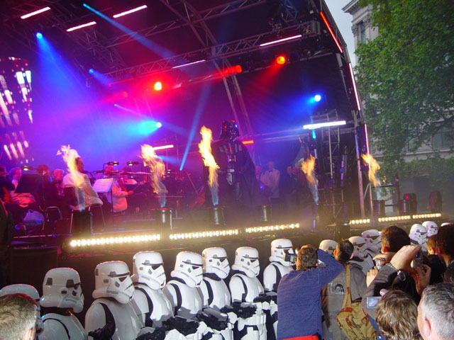 Stage flame effects star wars premiere Leicester Square London