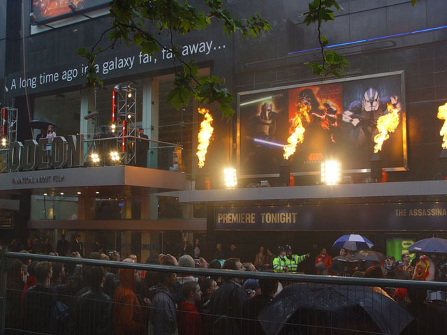 firestorm flame effect Leicester Square Premiere