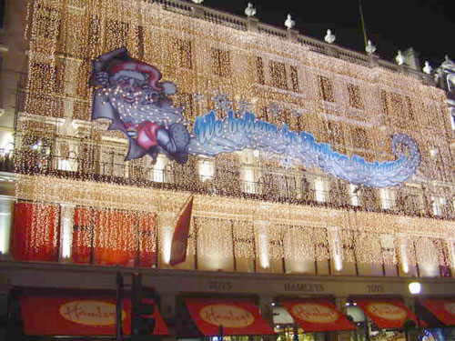 Colour wash lighting for Hamley's Toy Store, London