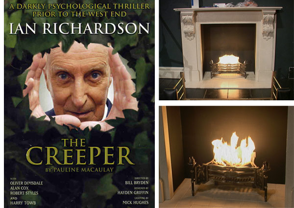 "Flame effect for Theatre Fireplace for  The Playhouse Theatre's Production of ""The Creeper"""