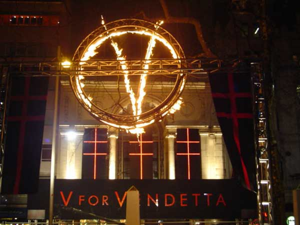 Flame effect for London Premiere of V for Vendetta