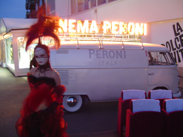 Large scale outdoor video projection for Peroni Beer