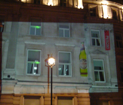 Outdoor Video Building Projection Peroni advertising campaign in London's West End.