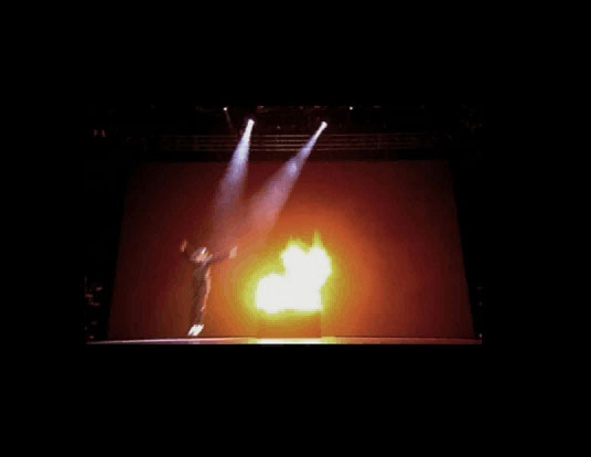 Flamebar system fo theatre production of Celtic Tiger