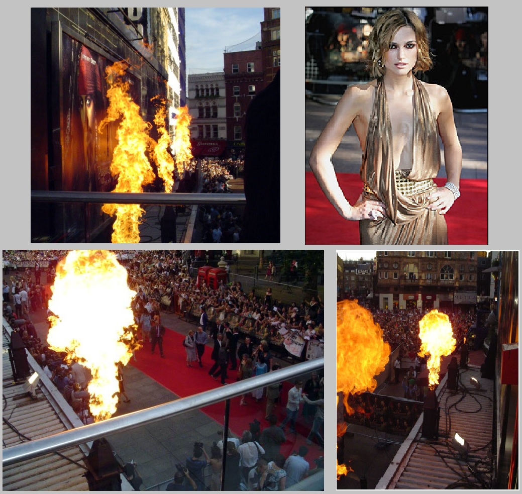Flame effects Pirates of the Caribbean London Premiere