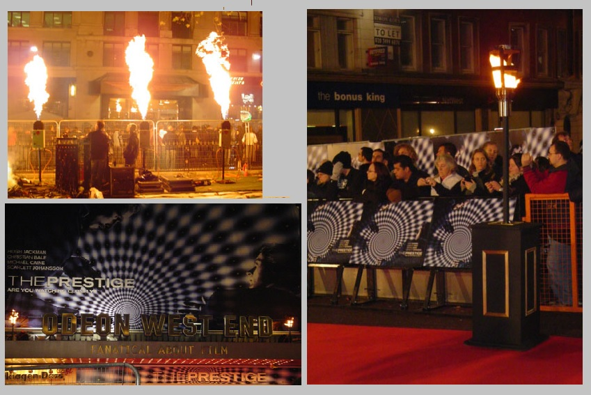 Flame effects for Prestige London Premiere at Leicester Square
