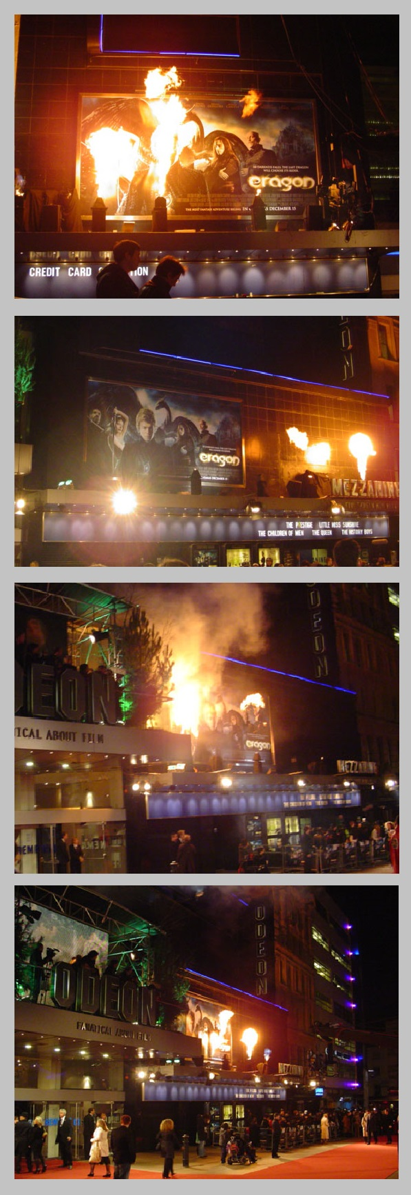 Flame effects for Eragon Premiere, Leicester Square. London