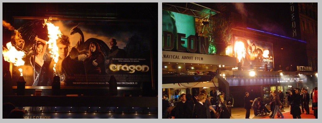 Flame effects for London Premiere, Eragon. Leicester Square.
