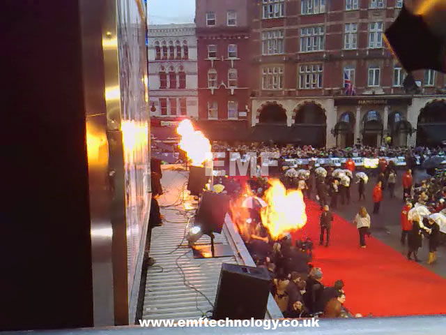 Flame effects, Lions for Lambs Premiere, Leicester Square. London.