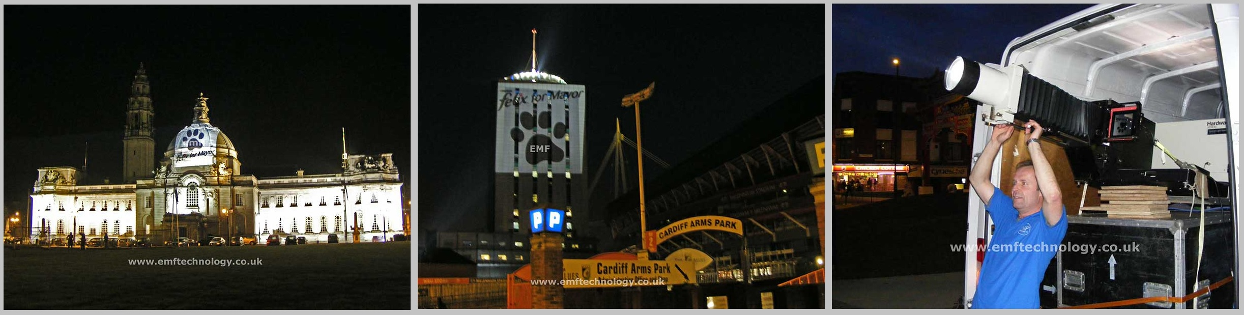 Outdoor Building Projection Advertising Campaign Cardiff
