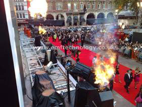 Flame effects for The Dark Knight Film Premiere, Leicester Square, London