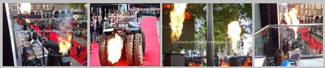 Flame effects for The Dark Knight Batman Film Premiere, London