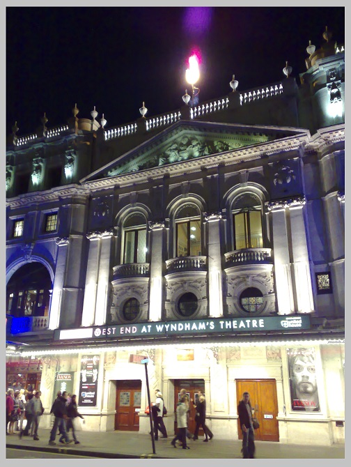 Wyndham Theatre flame effect, London