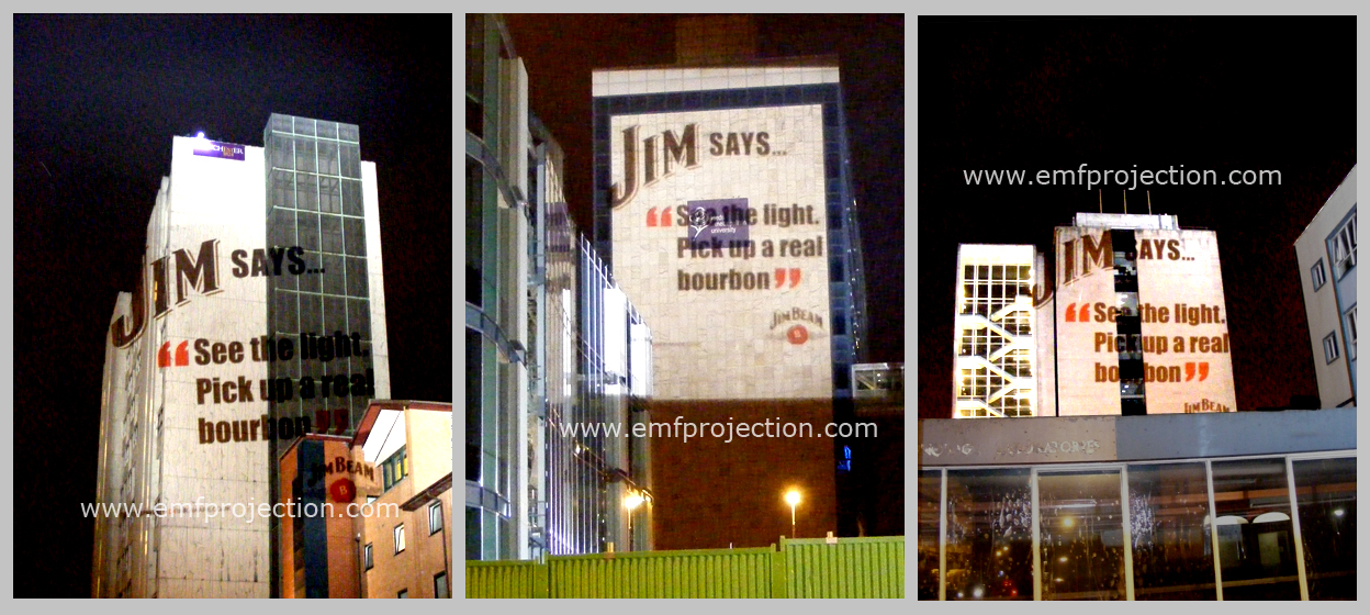 Large outdoor projection advertising campaign for Jim Beam whiskey