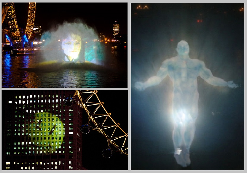 Watchmen Waterscreen projection, The Thames, London.
