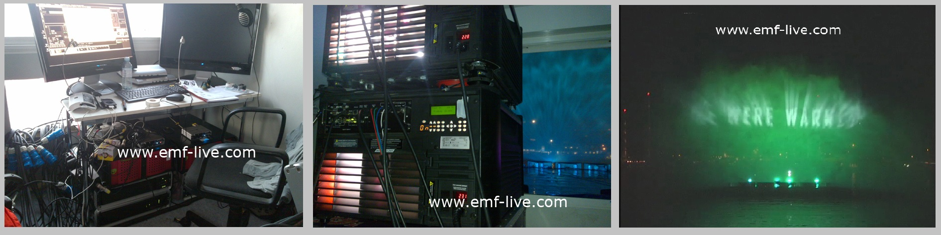 Waterscreen Projection Technical room for Film Premiere 2012 at Cannes Film Festival