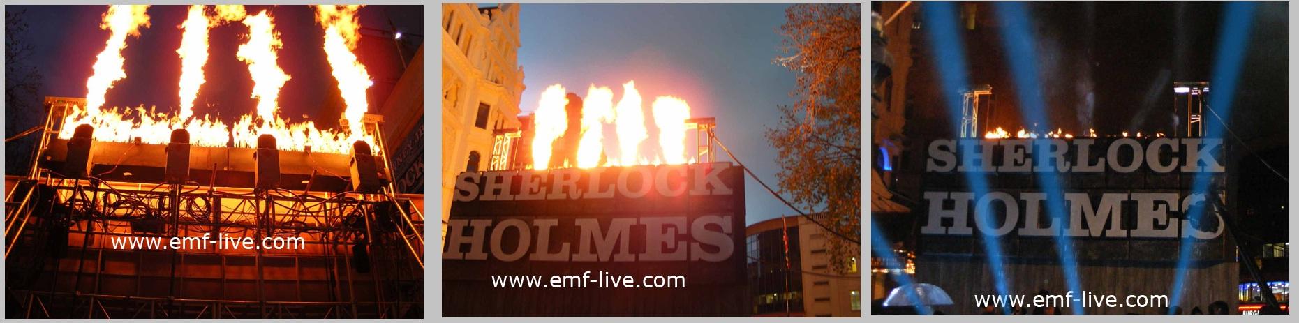 Flame effects for Sherlock Holmes London Film Premiere!