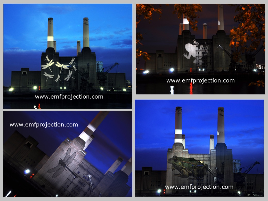 Projection onto Battersea Power Station for OPAL water survey launch