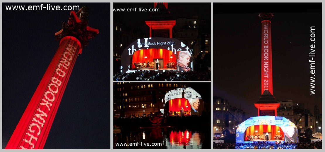 World book night projections Nelson's column London