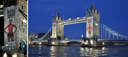 Projections onto Tower Bridge London