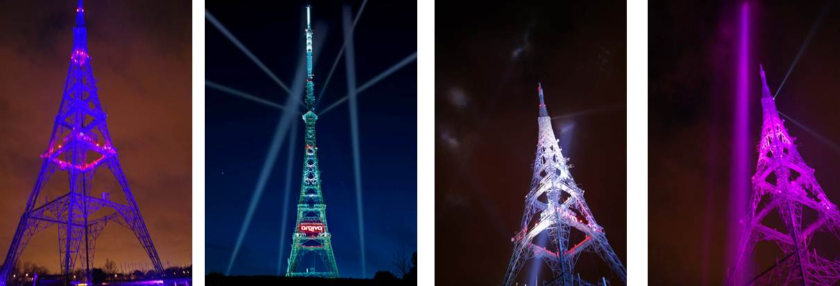 Crystal Palace Transmitter Digital Switchover searchlight show