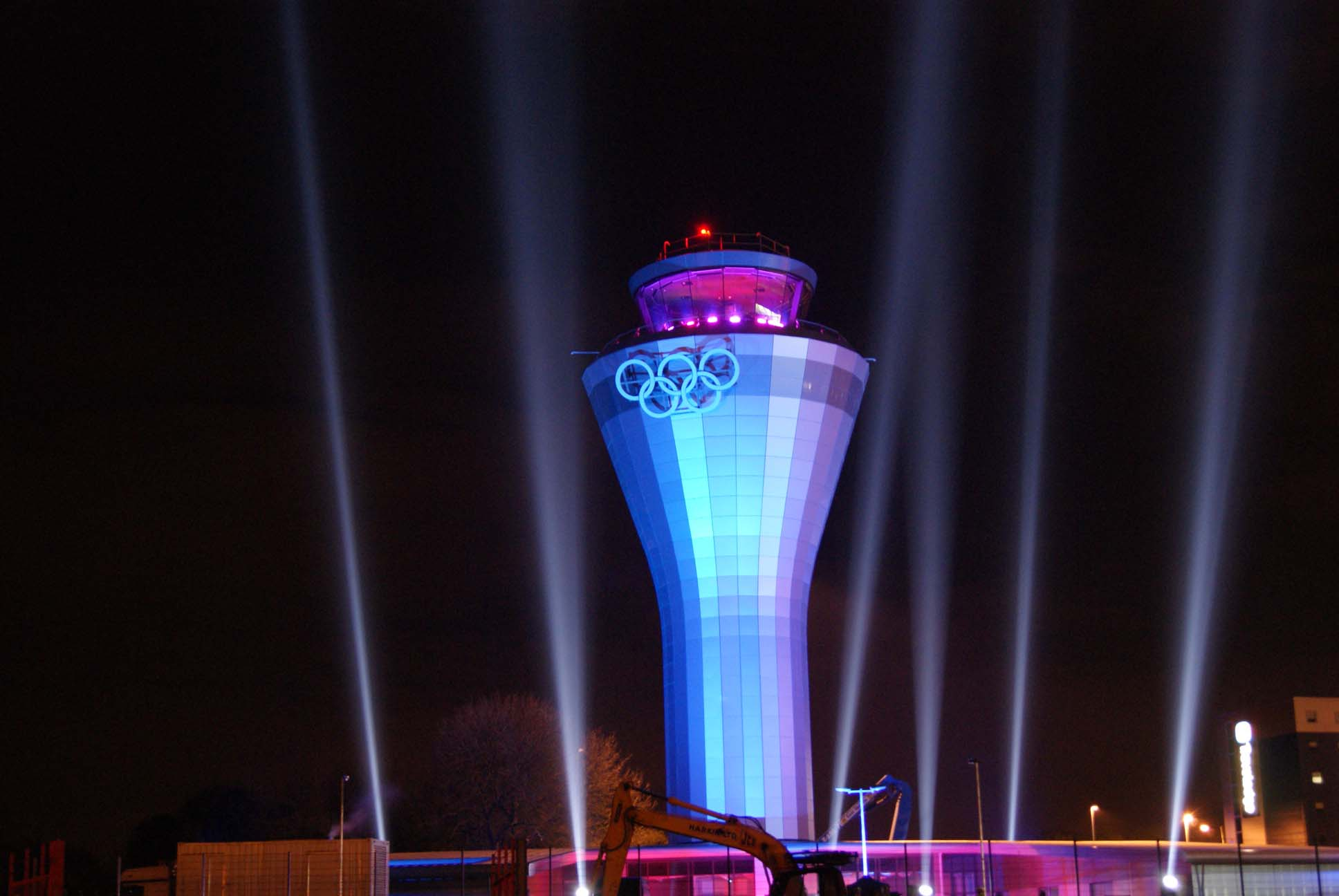 Birmingham airport reveal the Giant welcoming Olympic rings a massive searchlight show