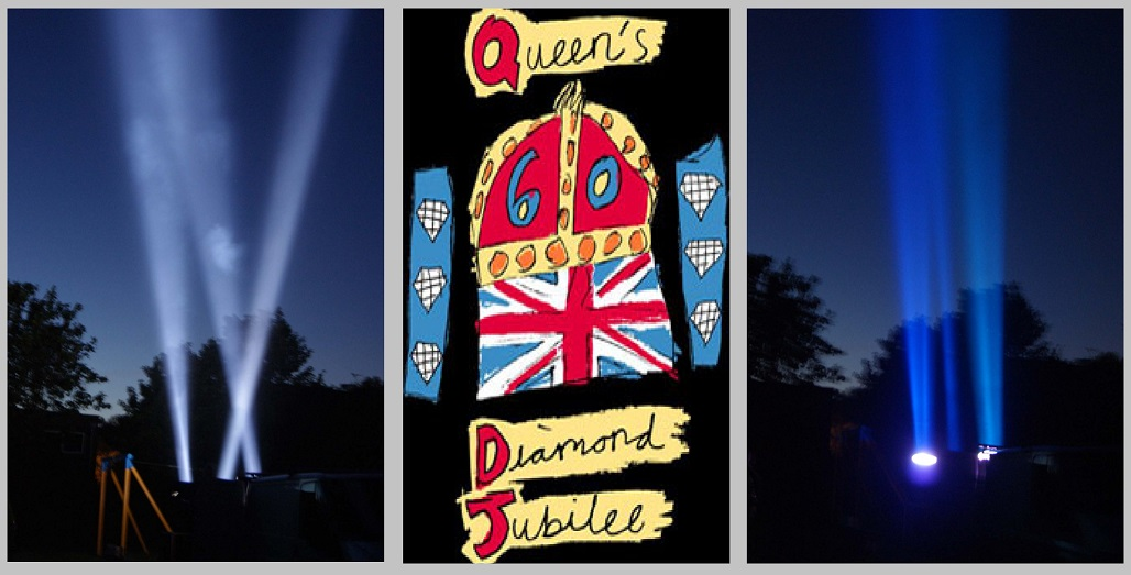 Searchlight beaming beacons for Queens Diamond Jubilee
