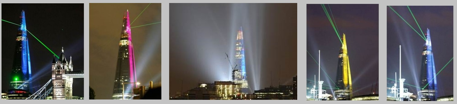 Shard building launch, lasers and search lights