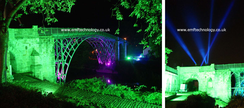 Architectural lighting at the Ironbridge Festival.