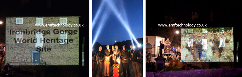 Outdoor projection and searchlights lit up the night for the celebrations of the Ironbridge Festival