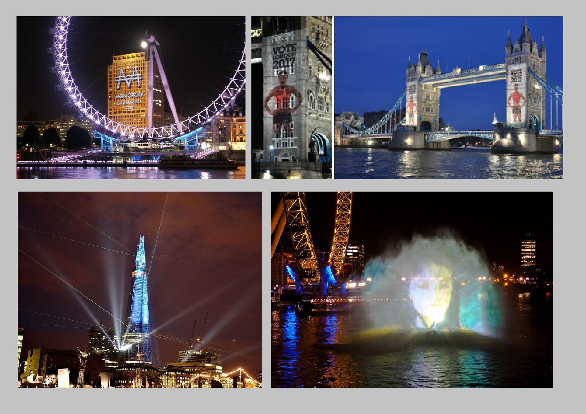 Building Projections, Searchlights and Water Screen Projection London