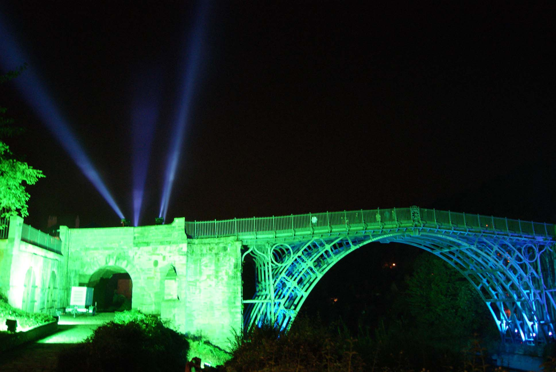 Architectural lighting and searchlights at the Ironbridge Festival