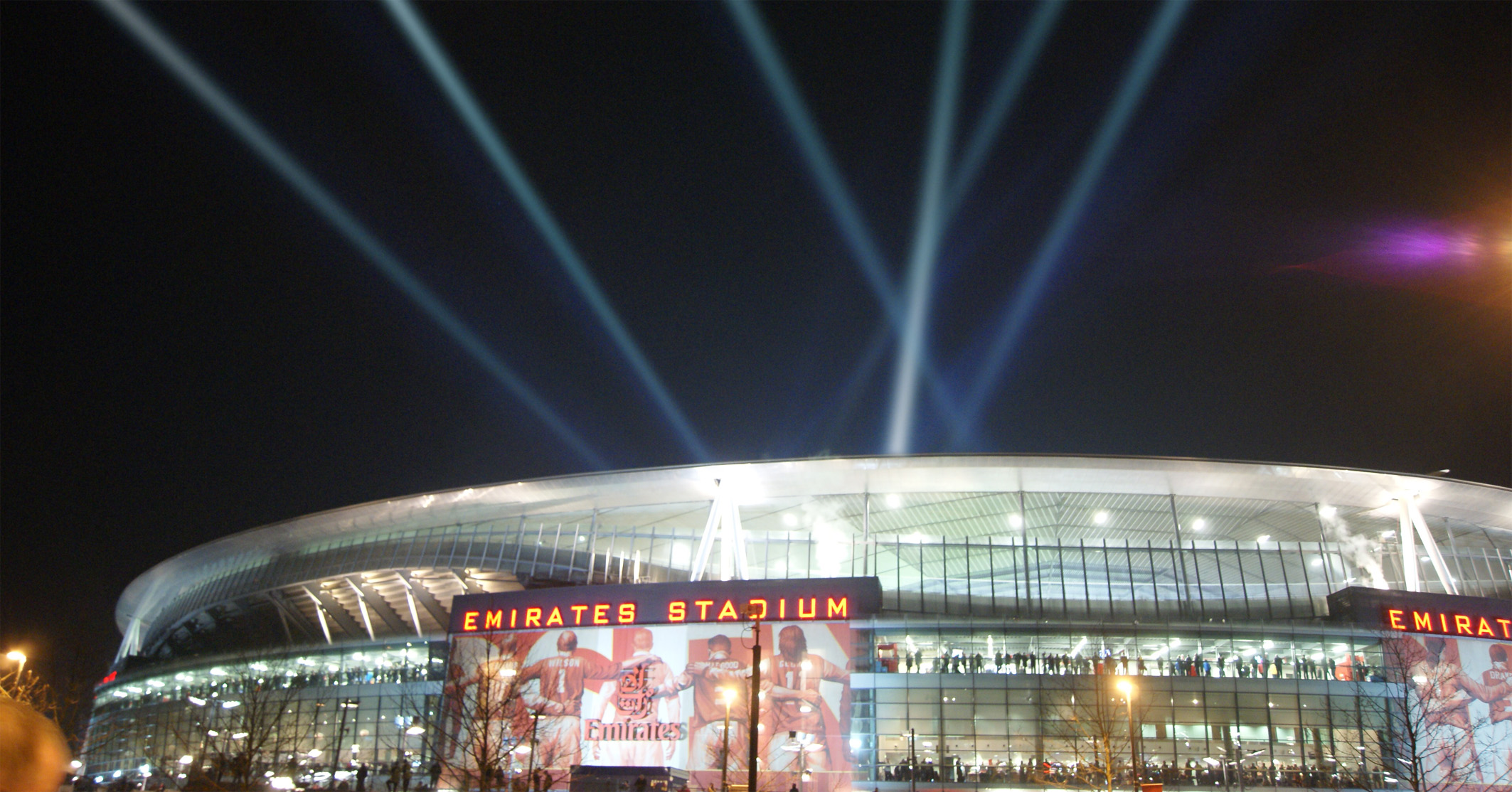 Searchlights at Emirates Stadium