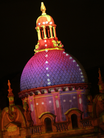 Building projection onto Blackpool Tower