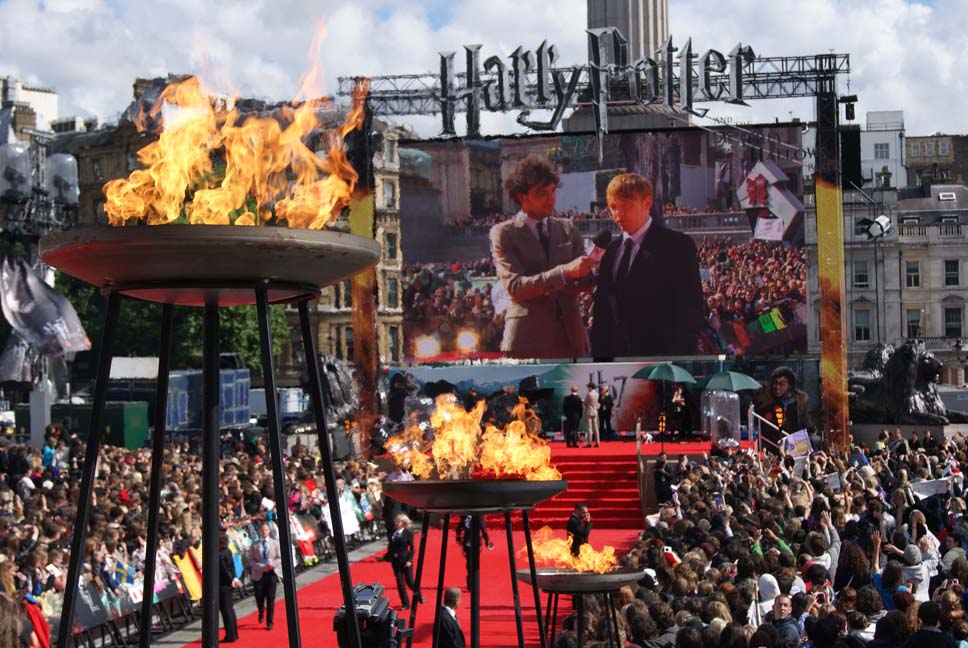 Large Dish Flambes for Harry Potter Premiere, Trafalgar Square. London