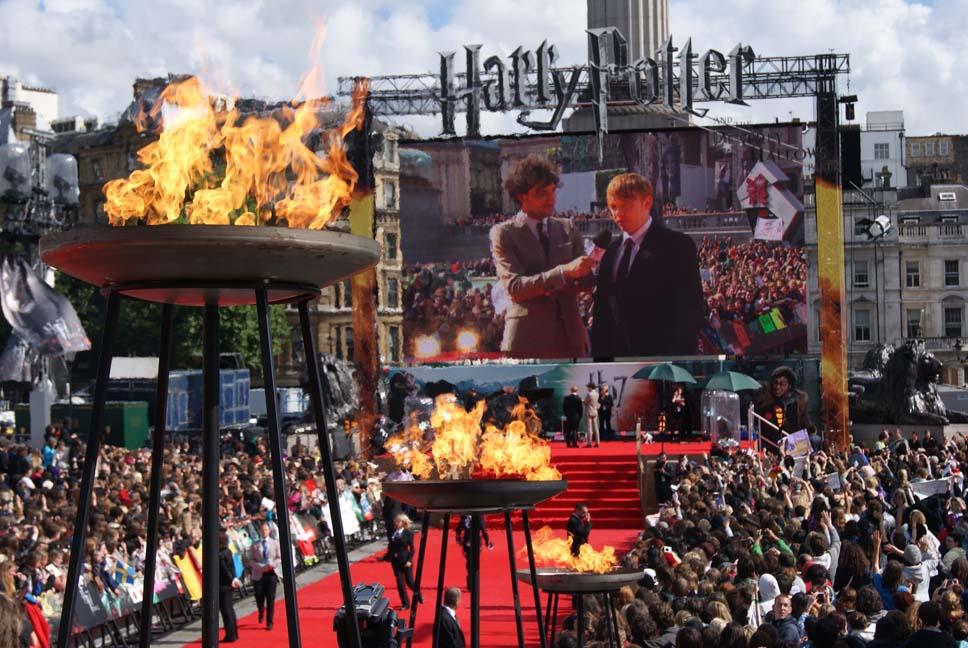 Large Dish Flambes for Harry Potter Premiere, Trafalgar Square. London
